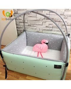 Giường cotton Bumper cỡ trung Simple Star Mint